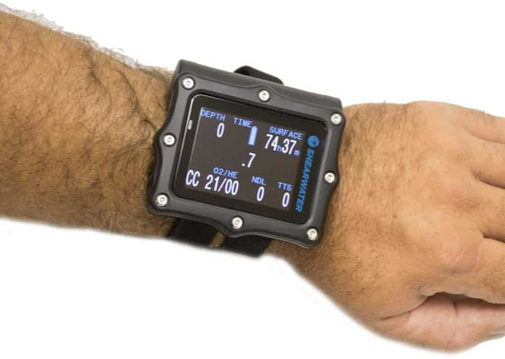 Shearwater Perdix AI on wrist